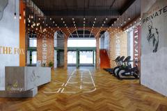 Sảnh chính không gian đón tiếp sang trọng của phòng gym the Fox