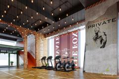 Phối cảnh góc phòng tập gym 800m2 tại Nguyễn Chí Thanh do  6design thiết kế