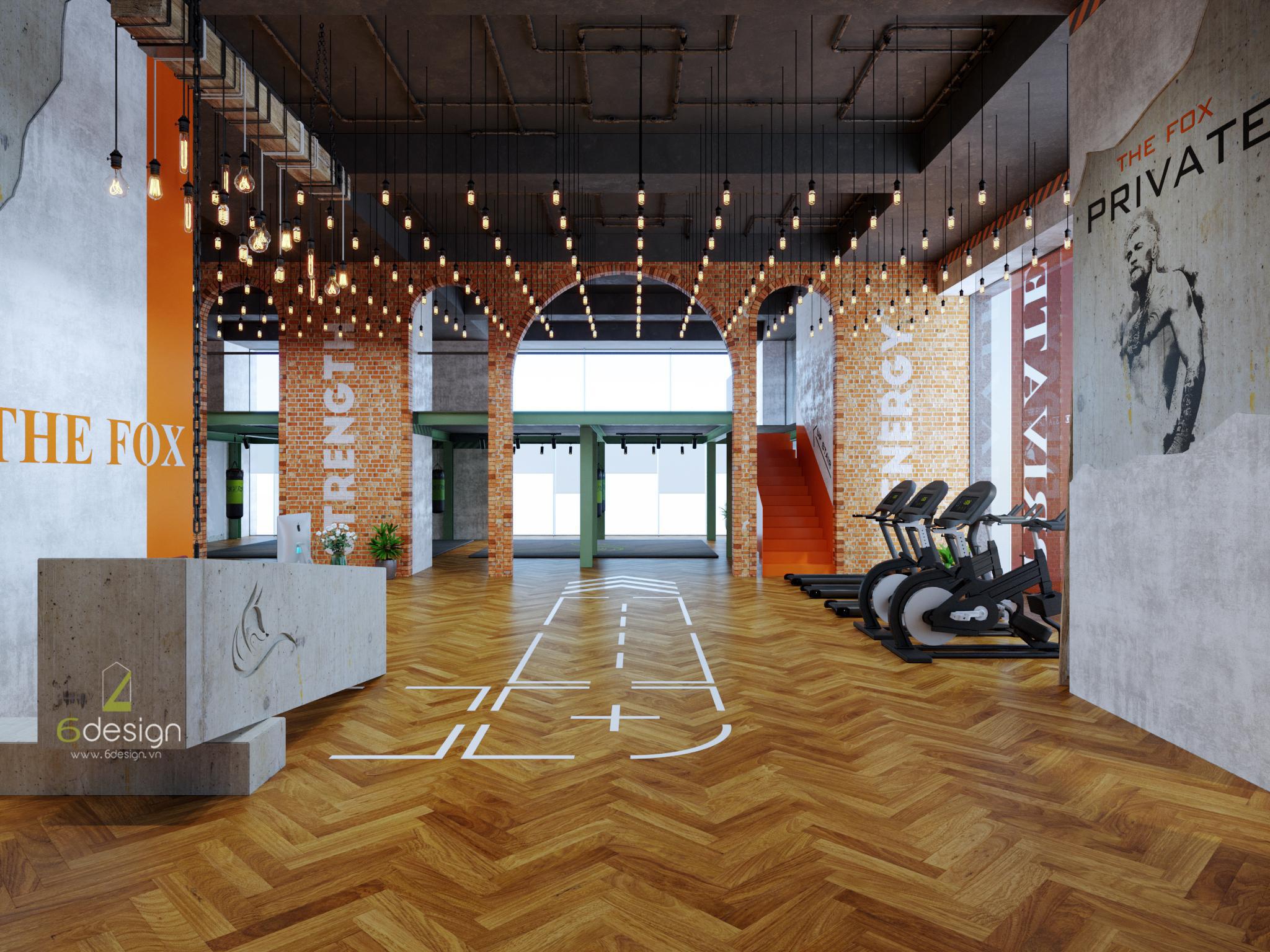 thiết kế nội thất phòng gym Nguyễn Chí Thanh cho chuỗi The Fox
